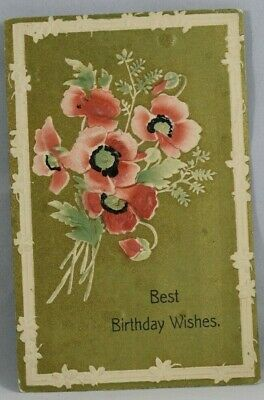 C 1919 Antique Postcard Birthday Wishes embossed Postmarked Muskegon Michigan