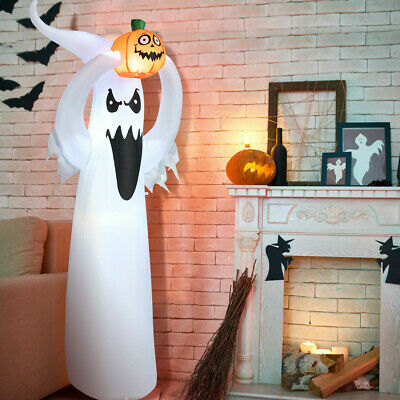 6' Halloween Inflatable Air Blown Ghost with Pumpkin LED Light Garden Decoration