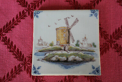 A Single Delft Tile With Windmill Design