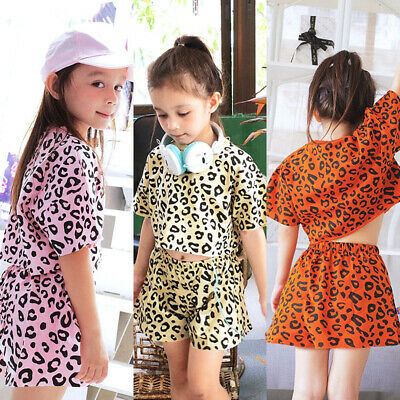 2PCS Toddler Kids Baby Girls Leopard Tops+Shorts Summer Fashion Clothes Outfits