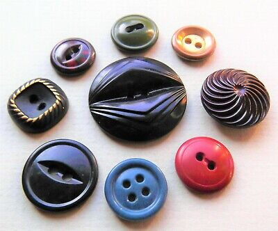 Lot of 9 Colt Plastics Vintage Buttons Metalized Mottled 7 9 16 29 30 49 73 80