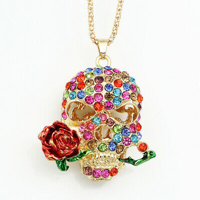Betsey Johnson Colorful Crystal Rose Flower Skull Head Pendant Women's Necklace