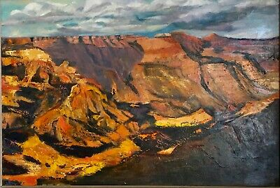 Vintage 1950's Mid-Century Luminism Western Grand Canyon Oil Painting Signed