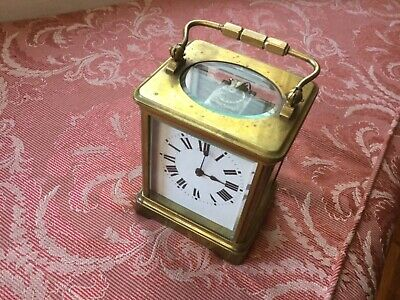 Vintage Antique Brass Carriage Clock in good working order with key