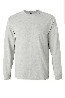 LOT/6 Gildan Ultra Cotton® Blank Adult Long Sleeve T-Shirt Bulk Lot Sz S Lt Gray