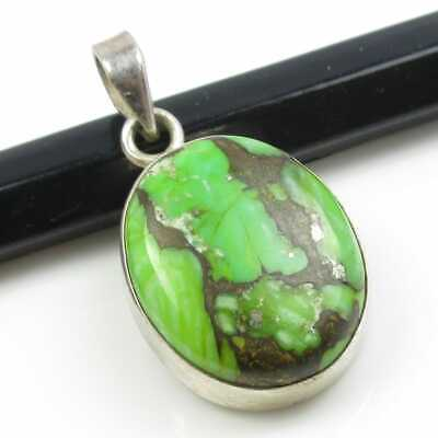 Sterling Silver  Natural Green Copper Turquoise  Gemstone 2.7 Cm Pendant