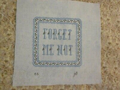 Needlepoint Canvas to Complete Forget Me Not Signed JB 03