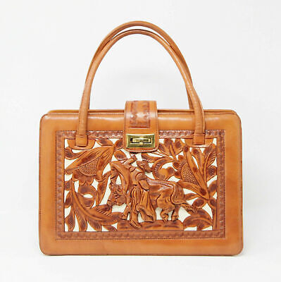 Vintage 50s 60s Tan Brown Leather Spanish Tooled Kelly Boston Grab Bag Handbag