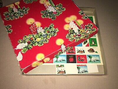 Vtg Christmas Wrapping Paper Gift Wrap Tags & Seals In Candle Box No Paper