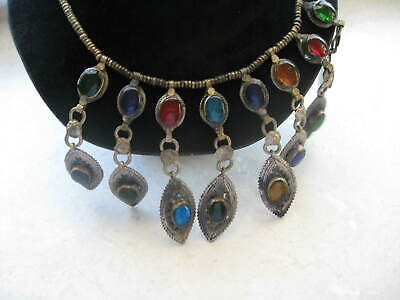 Antique MIDDLE EASTERN Silver Plate Colored Glass TRIBE Huge Necklace