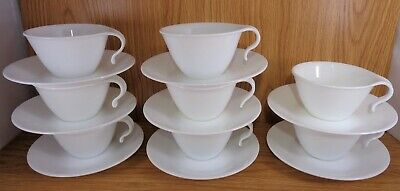 Corelle WINTER FROST WHITE HOOK HANDLE CUPS & SAUCERS Set of 8