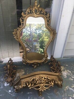 Set of 4=Homco Syroco Dart Vintage Floral Gold Wall Mirror/Shelf/Candle Sconces