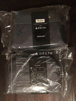 Pair of 2 TUMI Delta One New Amenity Kits SEALED Cases Business Travel Charcoal