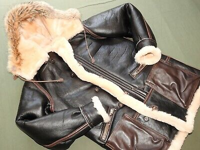 US Army AAF WW2 AERO ALEUTIANS PILOT B-7 SHEEPSKIN LEATHER FLIGHT PARKA Jacket