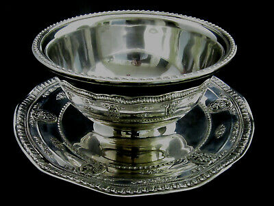 Vintage Wallace Sterling Silver Rose Point Gravy Bowl With Attached Plate #4956