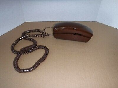 Nice Vintage Brown Trimline Phone Western Electric Lighted Push Button - Works..