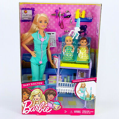 """Barbie Careers Baby Doctor Blonde 11.5"""" Doll Playset Accessories Furniture DVG10"""