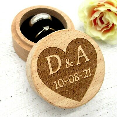 Personalised Wedding Ring Box Ring Bearer Box Proposal Heart Initials Engraved