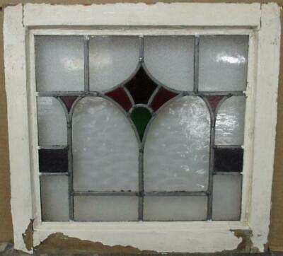 "OLD ENGLISH LEADED STAINED GLASS WINDOW Gorgeous Geometric Design 18.5"" x 17.5"""