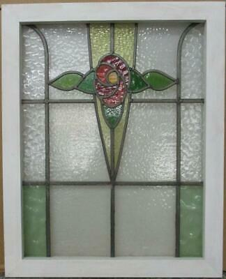 "MIDSIZE OLD ENGLISH LEADED STAINED GLASS WINDOW Gorgeous Floral 21.5"" x 26.75"""