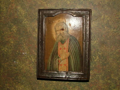 Antique 84 Silver Russian Orthodox Hand Painted Icon 19th century 4.5 x 3.5 in