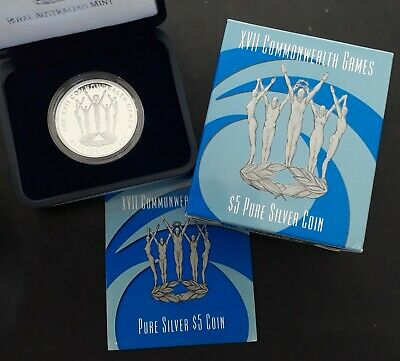 2002 Australia Manchester Commonwealth Games 36.31g Silver (.999) Proof $5 coin