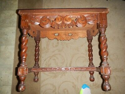 Antique hand carved Spanish bullfighter table solid wood spectacular quality