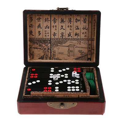 Classic Chinese Table Board Game Toy Pai Gow Tiles Set 2x Dice in Wooden Box
