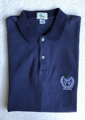 Vintage Men's Lacoste Polo Tennis Shirt Medium M Navy Blue Short Sleeve