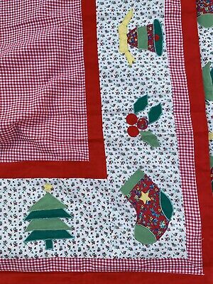 Vintage Republic Tobacco Tablecloth Christmas Gingham Tree/bells/stockings
