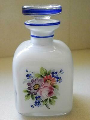 Antique Cased Glass with Hand Painted Flowers Perfume Bottle