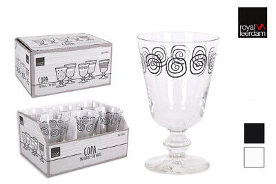 SPIRAL 280ML DECORATED Red white wine glasses -box of 6- RRP:£22.99