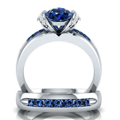 Fashion Women Round Cut Blue Sapphire 925 Silver Ring Wedding Gift Size 8