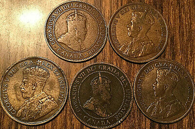 1903 1910 1916 1917 1918 Canada Large Cents 1 Cent Penny Lot Of 5 Coins