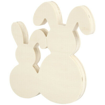 Two Easter Bunny Rabbits Freestanding Wooden Shape to Decorate - 17cm