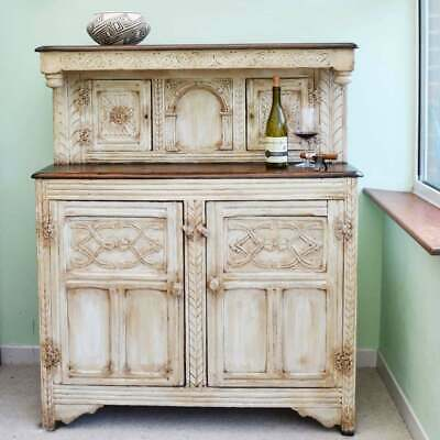 17th C Antique Carved Oak Painted White Buffet / Sideboard / Cupboard / Dresser