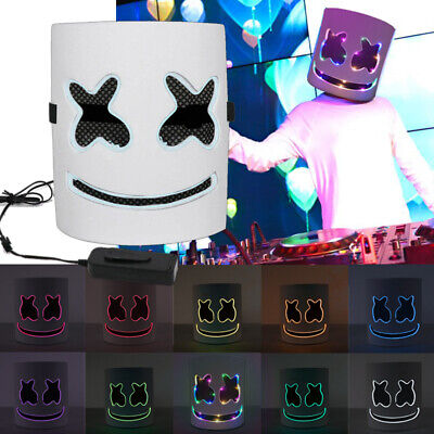 DJ-Marshmello Rainbow LED Full Mask Helloween Cosplay Helmet Party Music Prop US