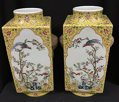 Qing dynasty : a pair of square vase handrawn bird and flower ,Chinese antique