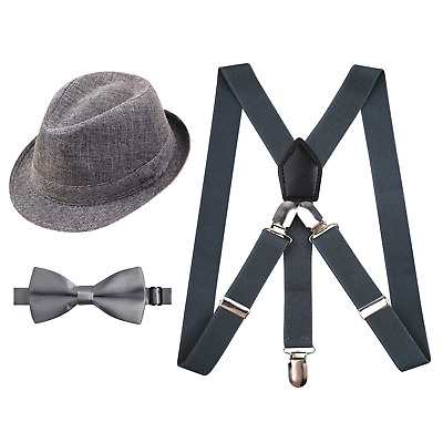 2.5cm Elastic Braces 3 Clip Suspender and Bow Tie Set with Hat for Kids-Gray