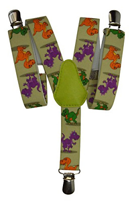 Childrens 1-5 Years Elasticated Clip on Braces/Suspenders with Dinosaur Design,