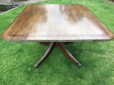 Superb Antique Mahogany Inlaid Rectangular Tilt Top Dining Table