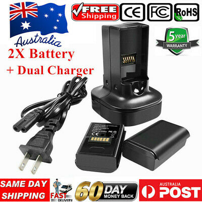 AU! 2 x Battery+Dual Charger for Microsoft Xbox 360 Wireless Controller Black UB