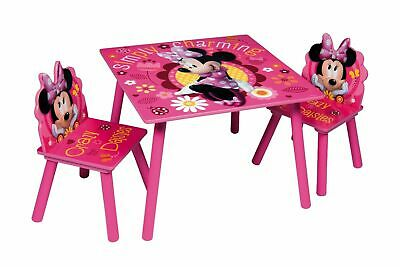 Minnie Mouse Table & Chairs Set Wooden Kids Nursery Playroom Furniture Play
