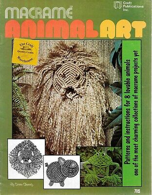 Macrame animal art instruction pattern book vintage 1976 8 lovable designs retro