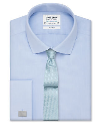 T.M.Lewin Non-Iron Super Fitted Sky Blue Twill Shirt