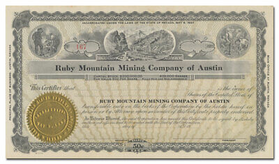 Ruby Mountain Mining Company of Austin Stock Certificate