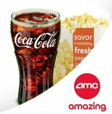 AMC (5) Large POPCORN & (10) Large Fountain Drinks Vouchers- Expires 06/30/2020