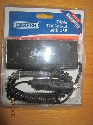 Draper Triple 12V Socket With Usb - 12076