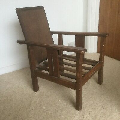 Vintage Arts Crafts Morris Stickley style Oak Child's folding chair