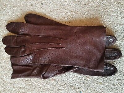 Brown Leather Unlined Gloves